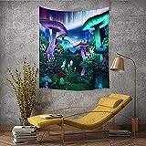 Trippy - Tapiz de seta mágica de fantasía, tapiz de hongos encantados con el bosque de hadas, naturaleza brumosa, paisaje del lago, para colgar en la pared, de franela grande, 203 x 152 cm