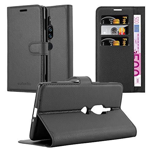 Cadorabo Hülle für Sony Xperia XZ2 Premium - Hülle in Phantom SCHWARZ - Handyhülle mit Kartenfach & Standfunktion - Hülle Cover Schutzhülle Etui Tasche Book Klapp Style