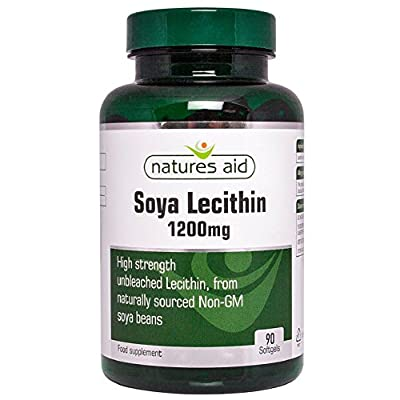 Natures Aid Lecithin, 1200 mg, 90 Softgels (Produced from Naturally Sourced, Non-GM Soya Beans, Source of Phospholipids, Made in the UK)