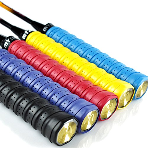 euhuton 5 Stück Anti Rutsch Overgrip Band Griffbänder Absorptionsmittel Griff für Badminton Tennis Squash Schläger gelb?rot, schwarz?blau, violett