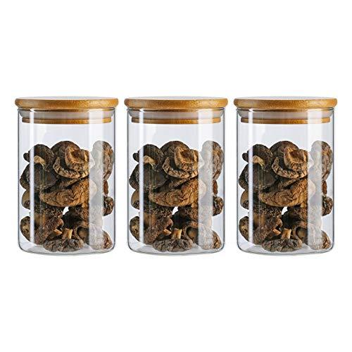 Barattoli in vetro con coperchio in bambù, contenitori ermetici, 250 ml, set di 3 pezzi per cucina tè, caffè e fagioli, biscotti, spuntini, spezie, farina