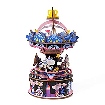 Rolife 3D Wooden Puzzle Hand Crank Music Box Machinarium Toys-DIY Wood Craft Kit-Creative Gift for Boys Girls Adults Kids When Christmas/Birthday  Starry Night