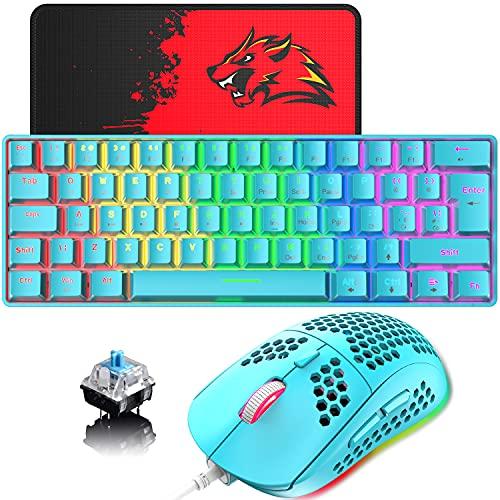 Teclado y ratón para juegos con cable de 60% con diseño del Reino Unido, 62 teclas, mini teclado mecánico compacto, retroiluminadas con arco iris, 6RGB retroiluminado 6400 DPI(interruptor azul/azul)