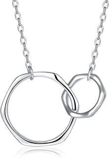 Blingfox 925 Sterling Silver Two Interlocking Infinity Circles Pendant Necklace, Sister Friend Mother