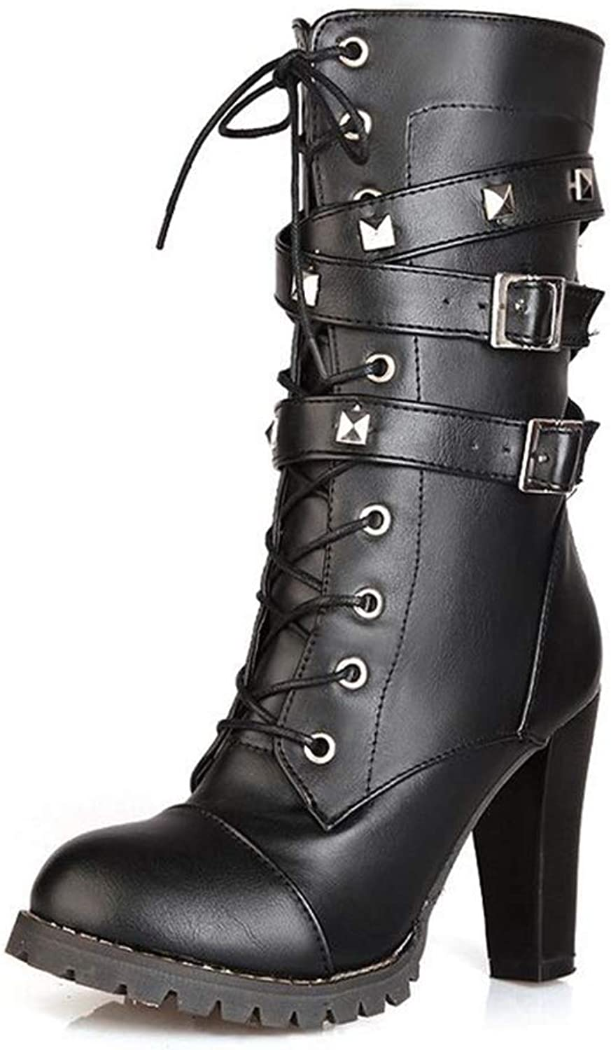 Gusha Women's high Heel Ankle Boots Motorcycle Boots Thick Heel Boots