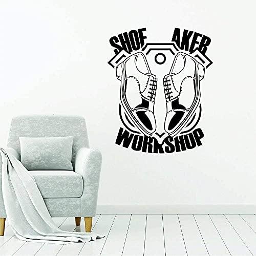 Etiqueta de la pared gran taller de zapatero costura etiqueta de la ventana de la pared procesamiento de artesanía de zapatos etiqueta de vidrio de pared decoración de vinilo 67x56 cm