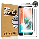 Owbb [2 Pezzi Bianco Vetro Temperato Pellicola per ASUS Zenfone 5 Lite ZC600KL Smartphone Full Coverage Protettiva Protezione 9H Durezza 99% Alta Trasparente