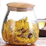 TAMUME 800ml Vorratsdosen Glas mit Deckel Glas-Küche-Aufbewahrungsglas mit Holzdeckel, Tee-Kanister...