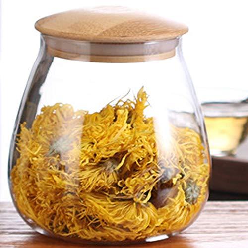 TAMUME 800ml Vaso da Cucina in Vetro con Coperchio in Legno, Scatola del tè o Contenitore per caffè in Grani, Dosatori ed Erogatori per Condimenti (800ML)