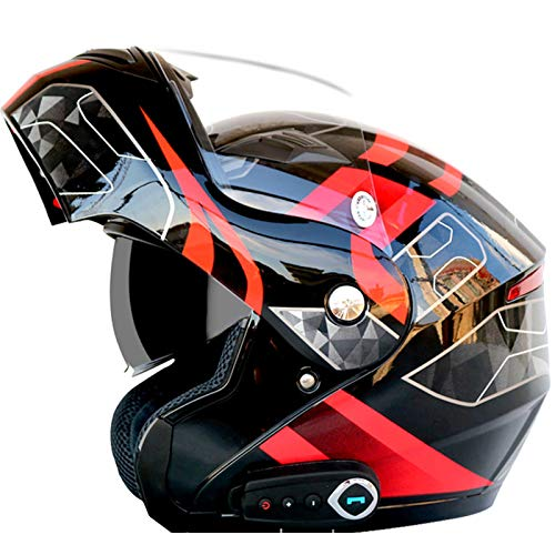 Casco Moto Integral DiseñO De Doble Visera Casco Moto Integral Forro ExtraíBle Y Lavable Casco Moto Bluetooth Integrado Con FM L/XL/XXL (59-64 CM)