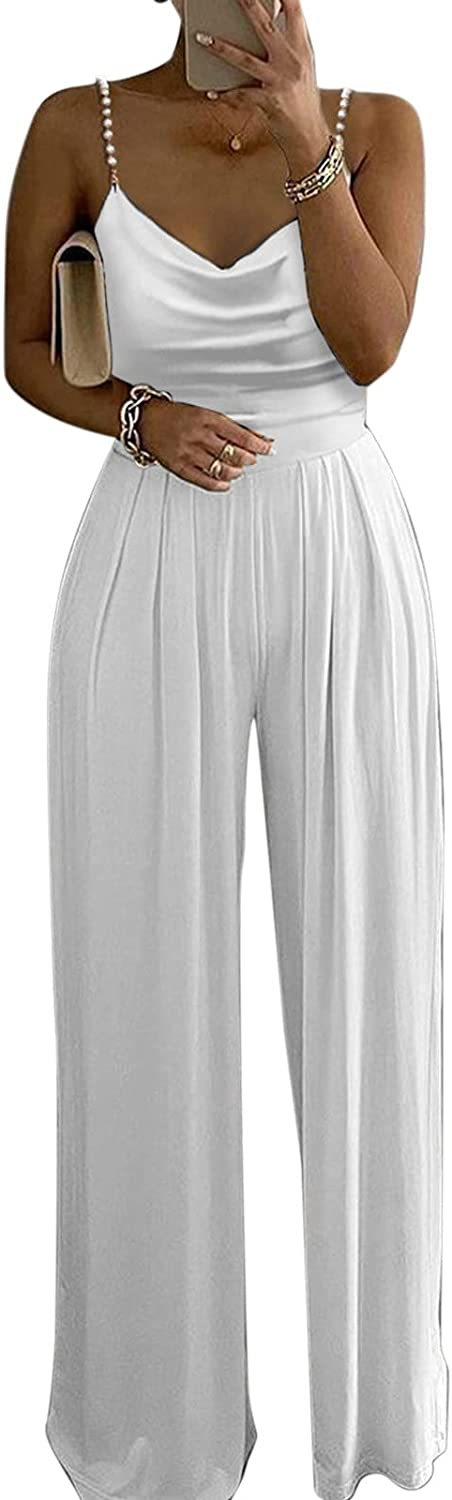 XinantimeWomen's Jumpsuit Pearl Spaghetti Straps Rompers Casual V-Neck Solid Color Pleated Jumpsuit Wide Leg Pants