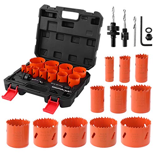 """Bi-Metal Hole Saw Kit,ARTIPOLY 17 Pieces 3/4"""" to 2-1/2"""" Full Hole Saw kit in Case with Mandrels, Adapters, Hex Key and Drill Bit for Metal ,PVC Board and Drywall, Durable High Speed Steel"""