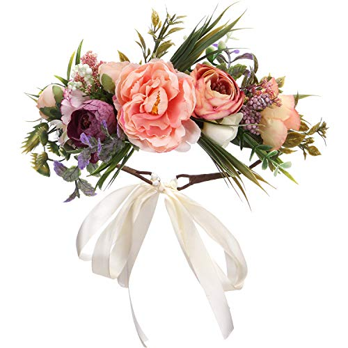 Folora Adjustable Flower Headband Hair Wreath Floral Garland Crown Headpiece with Ribbon for Wedding Ceremony Party Festival (190417A)