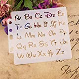 Yiwann, stencil con lettere dell'alfabeto, ideale per pittura, scrapbooking, goffratura, album di ritagli e biglietti fai da te, idea regalo