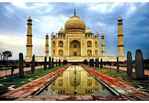 Mini Puzzles de 1000 Piezas en Miniatura DIYpara Adultos India Taj Mahal de cartón Resistente Desafío de Ejercicio Cerebral Juego de Alta dificultad Regalo para Niño 38*26cm