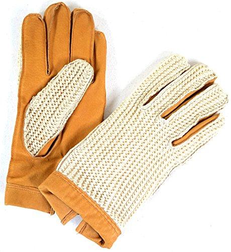 Bushga Para hombre de cuero guantes de ciclismo de hilos color