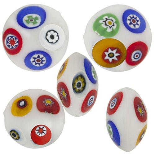 White Multi Millefiori Disc 16mm, 5 Pieces Authentic Murano Glass Bead