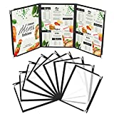 Kurtzy Funda para Cartas de Restaurantes Tres Pliegues A5 (Pack de 10) - 3 Pliegues Vista Doble Estilo Americano - Fundas de Cartas Negras Protectores de Esquina – Para Restaurantes, Bares, Cafés