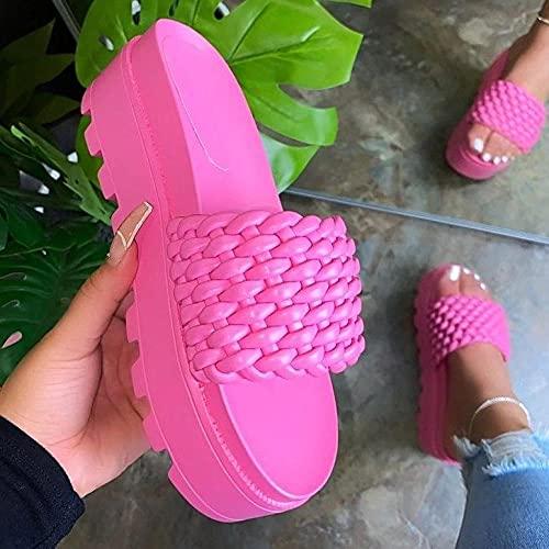 ypyrhh Sandalias de Playa Plataforma Zapatilla,Zapatos de Playa de Gran tamaño,Arena,Tejido,Grueso-Rosa roja_35,Planas Zapatos de Playa y Piscina