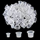Tattoo Ink Caps - Autdor 300Pcs Tattoo Ink Cups White Disposable Microblading Makeup Tattoo Caps Mixed Sizes Pigment Cups #9 Small #13 Medium #16 Large for Tattooing, Tattoo ink