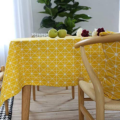 Bestenrose Retro Tischdecke Rechteckige Tischdecke Baumwolle Leinen Tischdecke Geeignet für Home Küche Dekoration (Gelb, 140 x 180 cm)