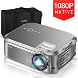 "HUREMER Native 1080P Projector, 6500 Lumens Full HD Video Projector with 200"" Display"