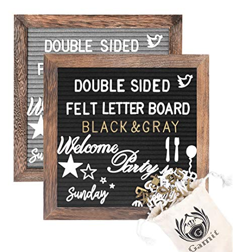 G GAMIT Double Sided Felt Letter Board with Rustic Wood Frame, 10x10 Message&Sign Board, 786 White&Gold Precut Letters,Symbols&Emojis&Script Cursive Words, Wall&Tabletop Display with Stand&Letter Bags