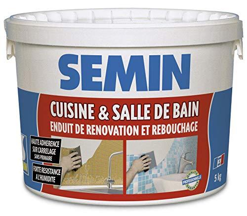 Semin A04756 Enduit de Rebouchage et Rénovation Spécial Cuisine et Salle de Bain, Adapté aux Pièces Humides, Seau de 5 kg