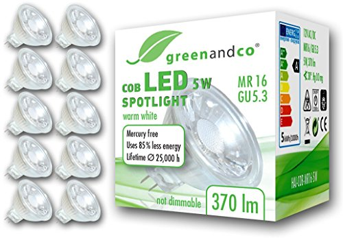 10x greenandco® LED Spot ersetzt 33 Watt MR16 GU5.3 Halogenstrahler, 5W 370 Lumen 3000K warmweiß COB LED Strahler 38° 12V AC/DC Glas mit Schutzglas, nicht dimmbar, 2 Jahre Garantie