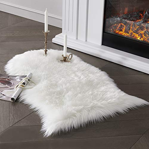 Ultra Soft Faux Sheepskin Fur Area Rug White Chair Cover Seat Pad Fuzzy Area Rug for Bedroom Floor Sofa Living Room 2x3 Feet SERISSA (White)