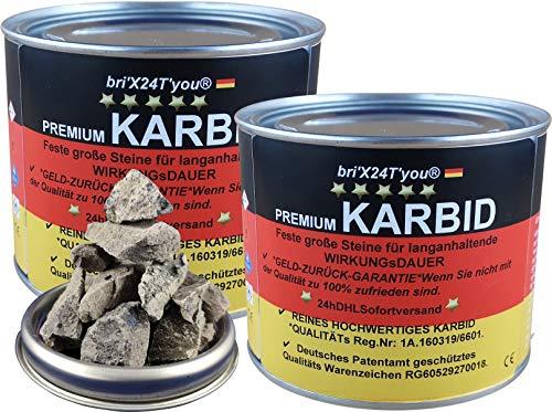 bri'X24T'you® Karbid 1.00KG *DEUTSCHE Premium QUALITÄT Firma BRIN'X Große Feste Steine für Lange WIRKUNGsDAUER(2x0,500KG=1.00KG)