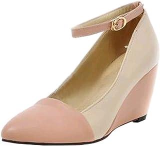 [JYshoes] ポインテッドトゥアンクルストラップパンプス 春用ウェッジソールパンプス厚底プラット レディースフォーム歩きやすい美脚痛くにくい 人気 安定感 通勤通学 靴