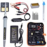 Soldering Iron, Soldering Iron Kit, 35W Adjustable Temperature Welding Tool, 5pcs Solder Soldering Iron Tip, with Car Battery Charger, AC/DC Adapter 110-240V/12V 3A, PU Carry Bag