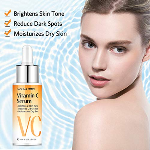 517Wxkpy92L - Vitamin C Serum for Face - Facial Serum with Hyaluronic Acid & Amino Acid, Anti-Aging Serum, Increase Skin Hydration & Reduce Fine Lines & Wrinkles Lagunamoon- 1.4 Oz Dropper Bottle