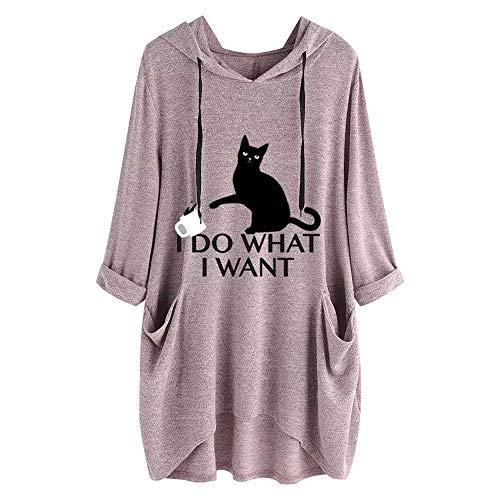 Felpa con cappuccio da donna con scritta 'I do what I want' e stampa di gatto, in stile tunica casual, a mezza manica rosa M