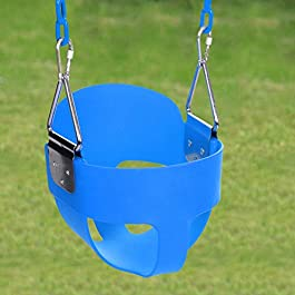 Balanu Heavy Duty High Back Full Bucket Toddler Swing Seat with Coated Swing Chains for Kid Baby Infant – Yard/Garden/Playground Use