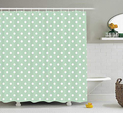 prz0vprz0v Mint douchegordijn, klassiek oud modieus polka dots patroon op lichtgroene frisse achtergrond, stof badkamer decoratieset met haken, 72 x 79 inch badgordijnen, mintgroen en wit