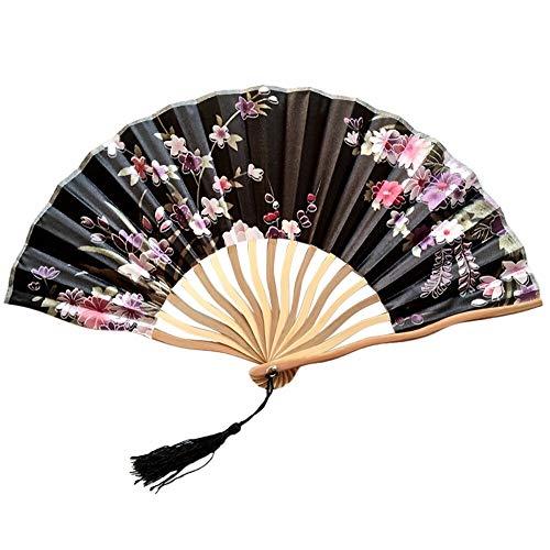 XINTIAN Abanico de baile plegable de mano de estilo chino para boda, fiesta, encaje de seda,...