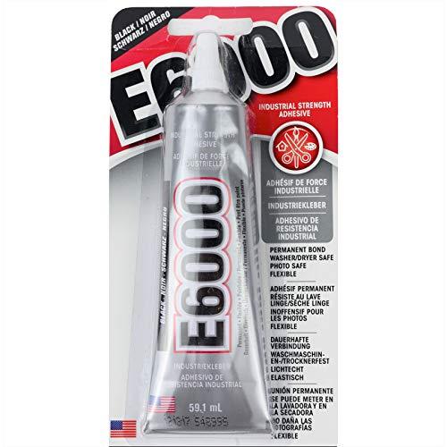 Eclectic E6000 industriële lijm, 59,1 ml tube, hittebestendige waterbestendige lijm, donkere alleslijm voor metaal, kunststof, leer, hout, decoratie, porselein, sieraden enz, vloeibare lijm zwart