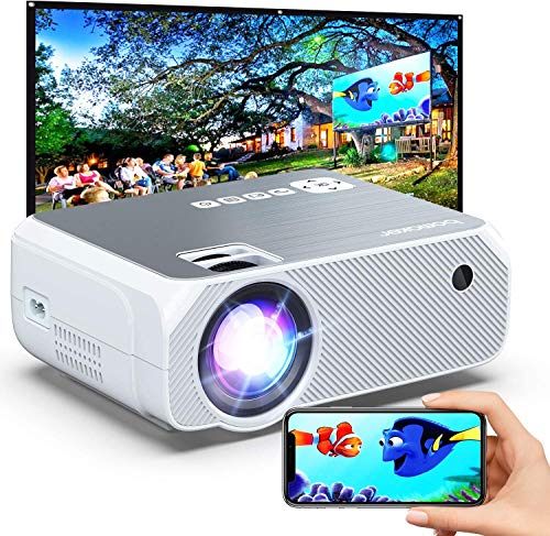 Bomaker Outdoor Projector,Portable WiFi Mini Projector for Outdoor Movies, Wireless Mirroring, for iPhone/Android/Laptops/Windows/PCs