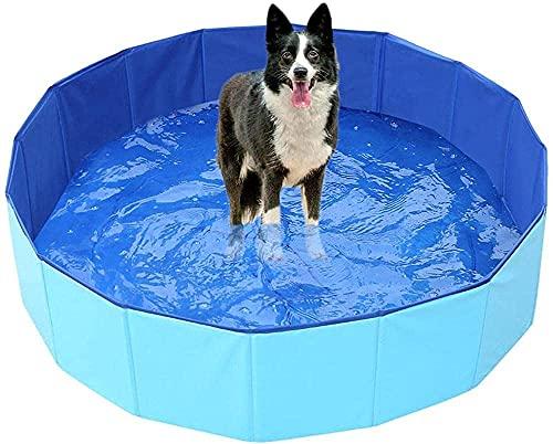 Piscina extra grande para mascotas, antideslizante UV-a prueba de UV CLORURO DE POLIVINILO Piscina plegable de remo con piscina de baño de frisbees para perros, gatos, niños, espesando la piscina port