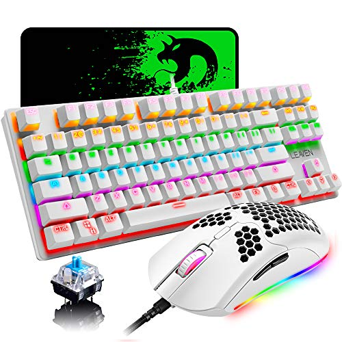 Gaming Keyboard and Mouse Combo,87 Keys Compact Rainbow Backlit Mechanical Keyboard,RGB Backlit 6400 DPI...