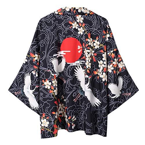 Kimono Japones Hombre, Impresión 3D Kimono Japonés Haori Yukata Cosplay Mujeres/Hombres Moda Verano Casual Manga Corta Streetwear Chaquetas Ropa,Black-XXL