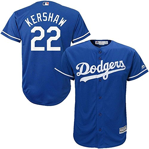 Majestic Clayton Kershaw Los Angeles Dodgers MLB Kids Blue Alternate Cool Base Replica Jersey (Kids 5/6)