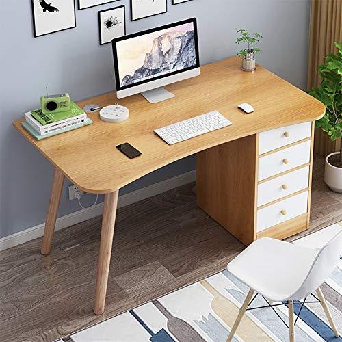 WXYNT Mesa De Ordenador,Madera con 4 Cajones Multi-Funcional Mesa De Estudio del Ordenador Portátil Pc,Fácil De Montar Escritorio para Home Office Estación-Arce 100x50x72cm(39x20x28inch)