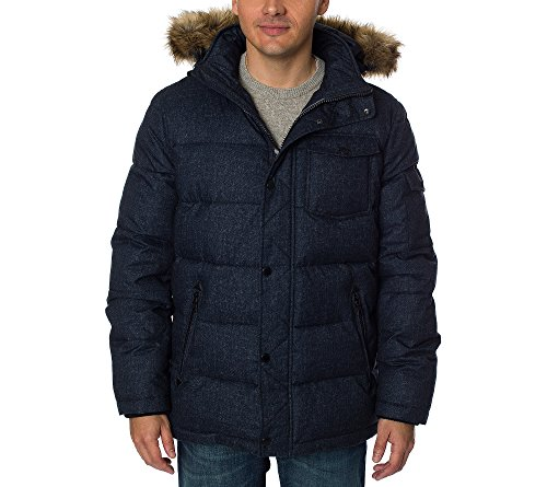 Nautica Men's Quilted Parka Jacket with Removable Faux Fur Hood, Blue Denim, XXL