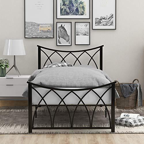 Zebery Moderno marco de cama individual de metal de 3 pies con cabecero para niños adolescentes adultos, negro (90 x 190 cm)
