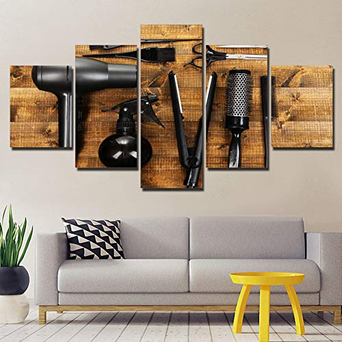 MMLZLZ 5 canvas paintings Canvas Wall Art Pictures Home Decor 5 Piece Hairdressing Tools Scissors Comb Painting Print Barbershop Beauty Salon Poster