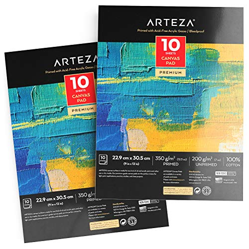 "Arteza 9x12"" Canvas Pad, 2 Pack, 20 Sheets, 100% Cotton, Primed with Acid-Free Gesso, Glue-Bound Pad of Canvas Paper for Acrylic Painting or Oil Paint, Ideal for Painting and Mixed Media"