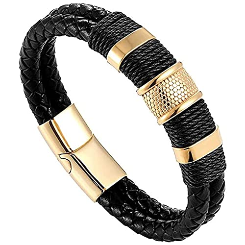 JIEZ Pulsera de cuero genuino de acero inoxidable magnética doble trenzado moda punk tejido cordón joyería, negro, 20 cm
